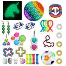 Ensemble de jouets Anti-Stress à fossettes, cordes extensibles, paquet cadeau pour adultes et enfants, Anti-Stress sensoriel