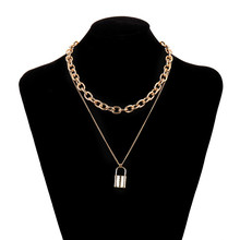 New Classic Choker Padlock Pendant Necklace for Women Multi Layer Gold Silver Color Lock Necklaces Link Chain Collar Jewelry cring coco new fashion choker necklace collar necklaces romantic cat fish fur pompom silver chain pendant for women girls gift