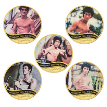 WR Famous Movie Actor Bruce Lee Gold Plated Coins Collectibles with Coin Holder Chinese Challenge Coins Gifts for Men Dropship