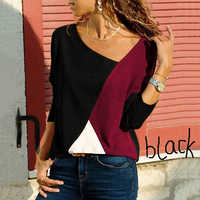 NEW Women Casual Long Sleeve Shirt Ladies Fashion Loose T-shirt Cotton Stitching Tops Pullover Shirts Plus Size S-5XL