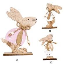Милый кролик, деревянный Декор для дома, сцена, украшение, кролик, кукла, пасхальные, вечерние, для рабочего стола, украшение для праздника, детская комната