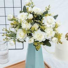 Flores artificiales de seda para decoración del hogar flores falsas de plástico de alta calidad ramo de mesa de boda decoración