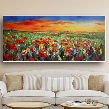 Wild Flowers Poppies Landscape Oil Painting Printed on Canvas 3
