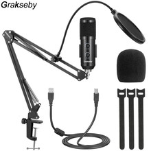 Usb Microphone Pc Professional Condenser Karaoke Microphone For Singing With Mic Pop Filter And Boom Arm Stand For Mikrofon Kit