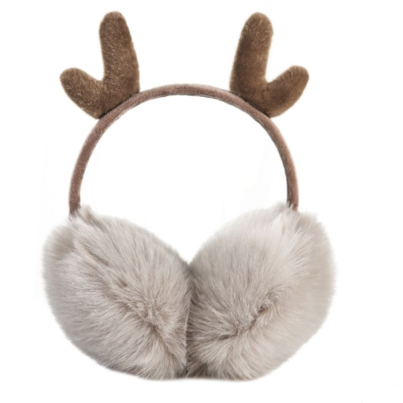 O 2019 Autumn And Winter New Christmas Earmuffs Cute Plus Velvet Warm Windproof Antler Earmuffs Adjustable Earmuffs Ear Warmer