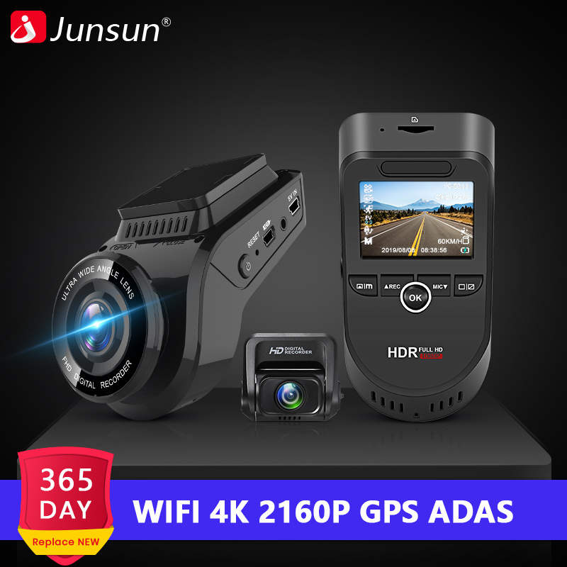 Junsun S590.P WiFi 4K Car Dash Cam Ultra HD 2160P 60fps GPS ADAS Dvr With 1080P Sony Sensor Rear Camera Night Vision Dashcam