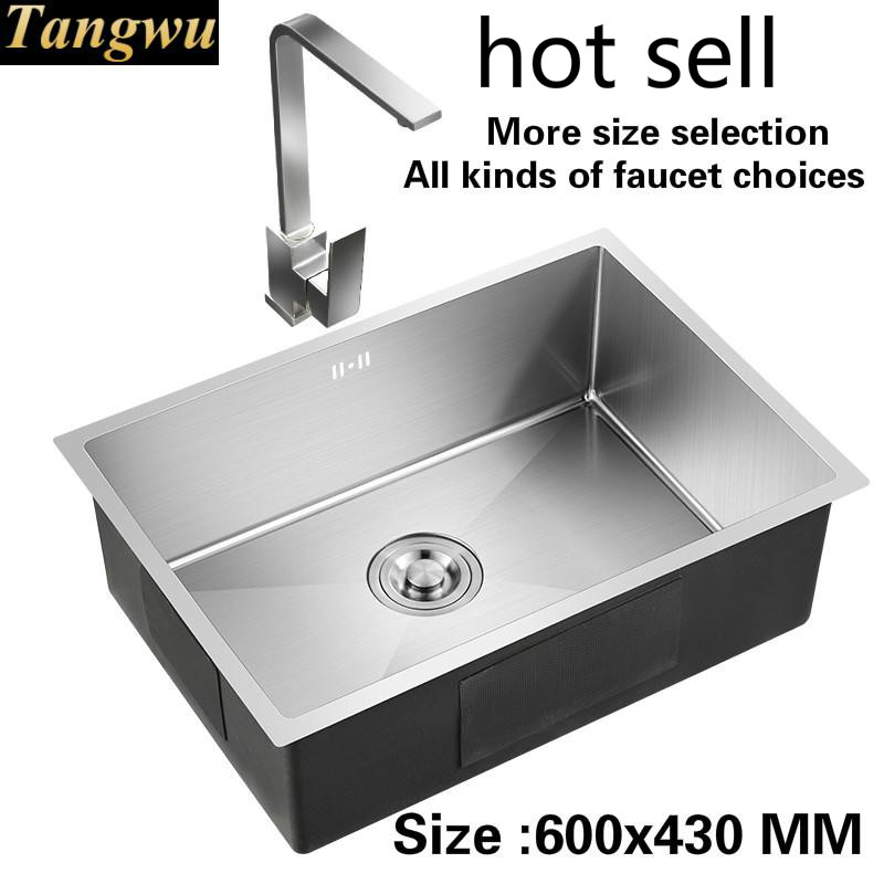 Free Shipping  Apartment  Kitchen Sink Durable 304 Stainless Steel  Hand Made Single Slot Hot Sell 600x430 MM