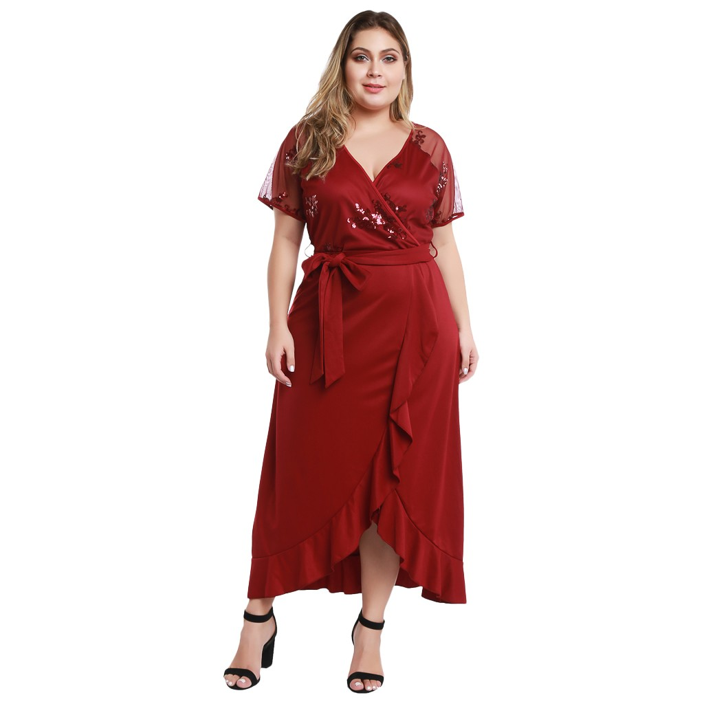 Plus Size <font><b>5xL</b></font> V neck dot irregular ruffle split midi <font><b>dress</b></font> Women <font><b>Sexy</b></font> high waist bodycon <font><b>dress</b></font> Summer female elegant party <font><b>club</b></font> image