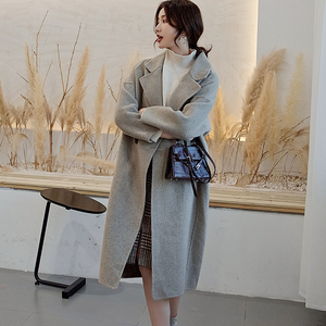 Smpevrg autumn wool coat women windbreaker double-sided fabric women coats turn-down collar long overcoat loose outwear topcoats