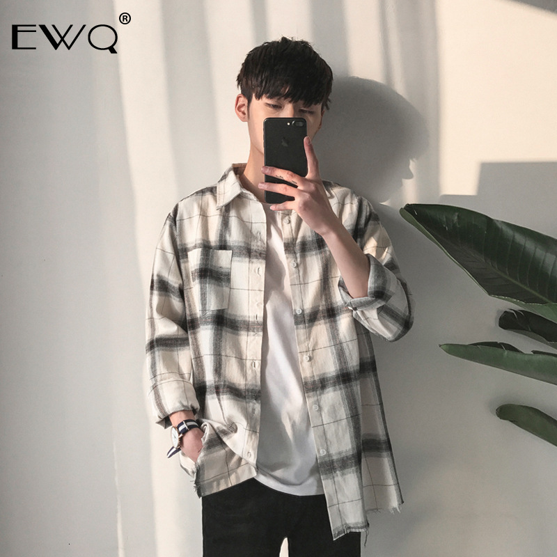 EWQ / 2020 Spring Men's Clothing Fashion New Lattice Long Sleeve Shirt Loose Single Breasted Tops For Male Tide Big Size A252