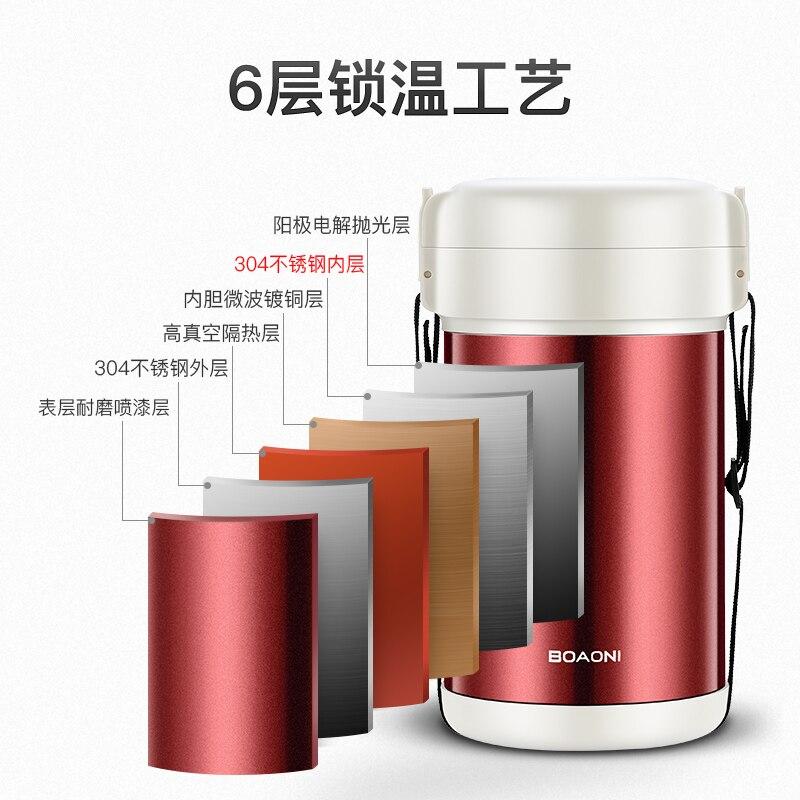 BOAONI 2000 мл пищевой Ланч бокс из нержавеющей стали контейнер для горячего супа вакуумная колба термос изолированный кухонный школьный Ланч бокс es - 3