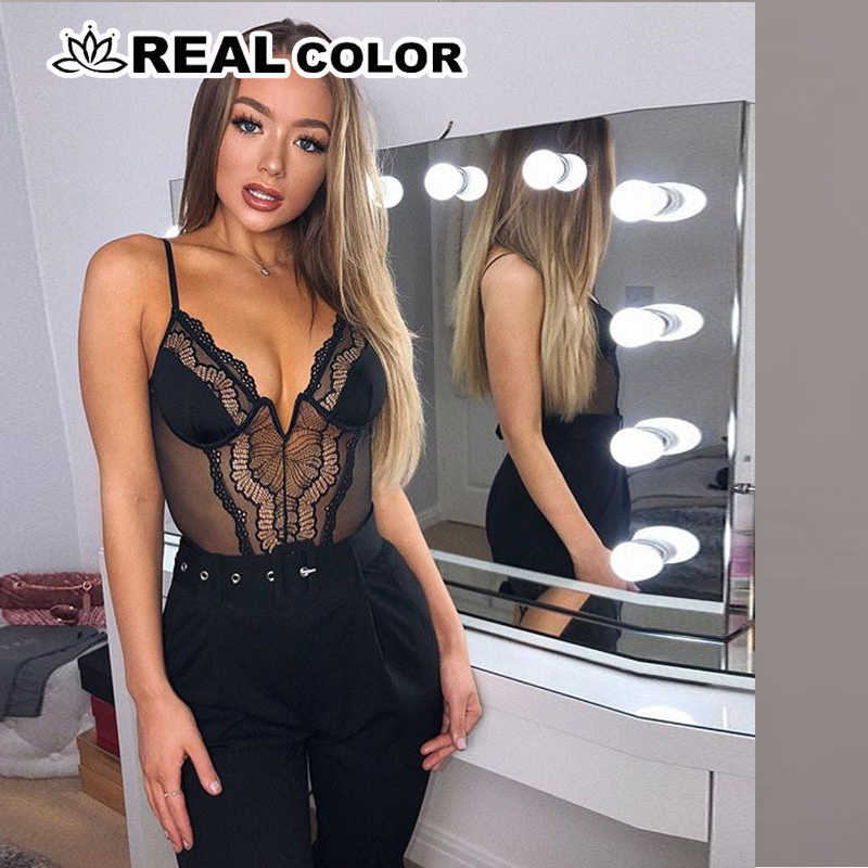 deep V fashion lace sexy bodysuit women patchwork mesh transparent female jumpsuit slim body mujer hot catsuit 4.6 -8.9