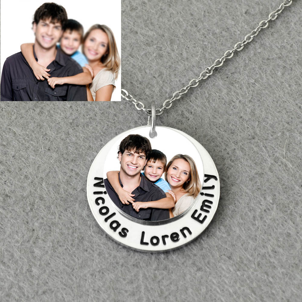 Personalized Picture Necklaces Custom Photo Necklace Engraved Family Names