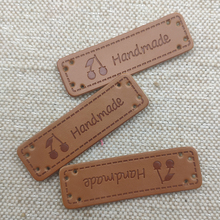 Cherry logo handmade labels for backpack Natural style clothing sewing hand made tags for gift handmade PU leather clothes label win win logo hand made leather labels for gift sewing win logo hand made tags for clothes gift handmade leather sewing label