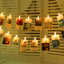 Photo-Clip-Holder Garland Led-String-Lights Battery-Powered Birthday Party Christmas-Decoration