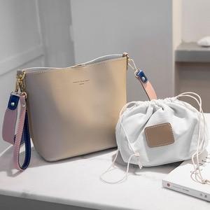 Image 4 - Hit Color Bucket Type Single Fashion Shoulder Package 2019 Luxury Ladies Messenger Bag All Match Shoulder Satchel Portable Woman