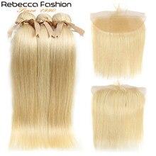 Rebecca 613-mechones de pelo rubio con Frontal Remy, mechones de pelo liso Rubio brasileño, 2/3 mechones