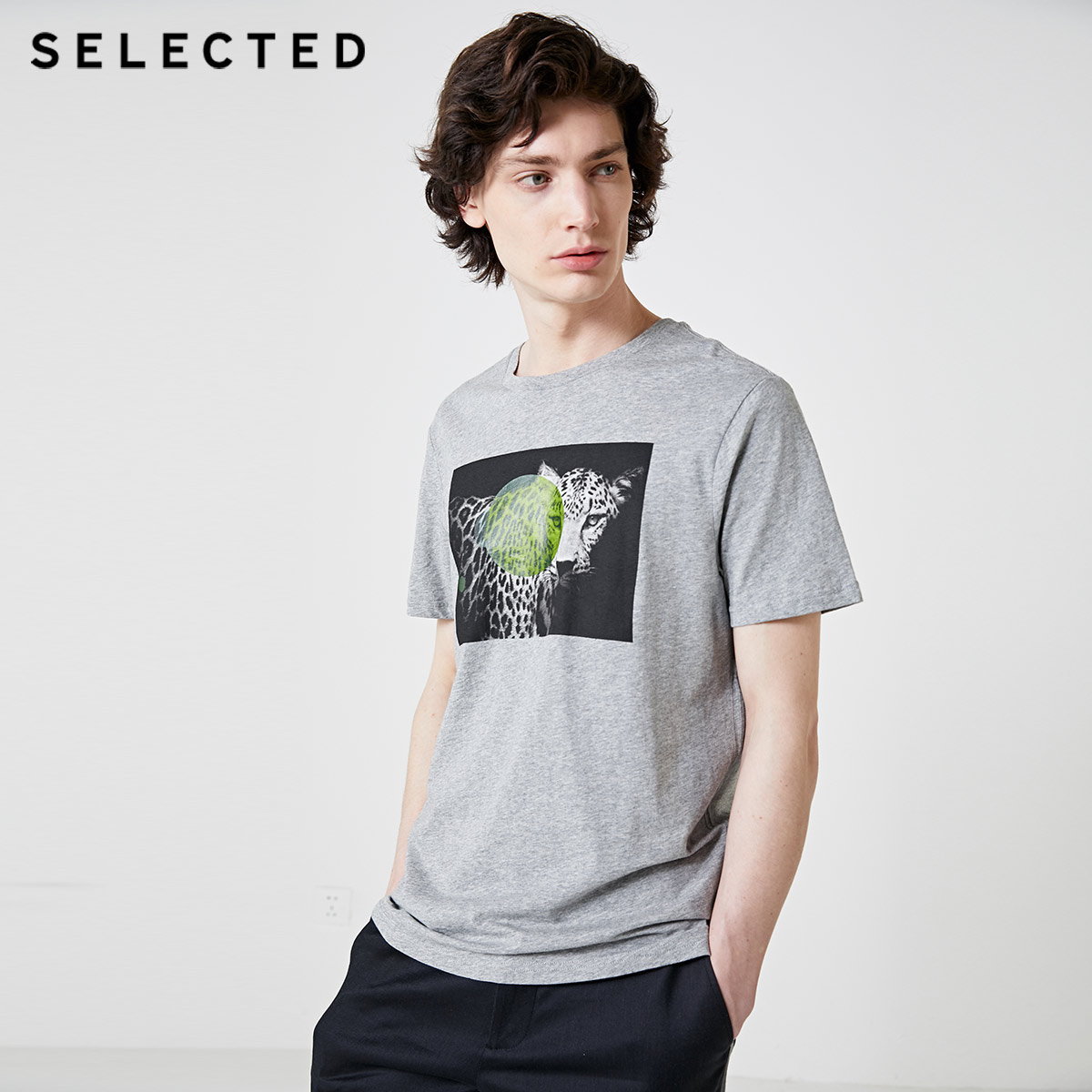 SELECTED Men's Printed Animal Pattern Short-sleeved 100% Cotton Casual T-shirt S | 419101515