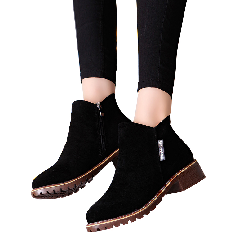 Women Boots 2019 Autumn Winter Boots Female Shoes Brand Ladies Ankle Boots Heels Shoes Woman Suede Leather Boots