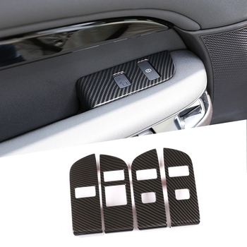 Carbon Fiber ABS Interior Child Lock Button Trim With Opening Warning For Land Rover DIscovery 5 LR5 L462 2019 LHD Car Accessory