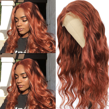 Brown Body Wave Lace Front Human hair Wigs Brazilian Remy Pre Plucked 13x4 Hair Wig For Black Women Red SOKU - discount item  46% OFF Human Hair (For Black)