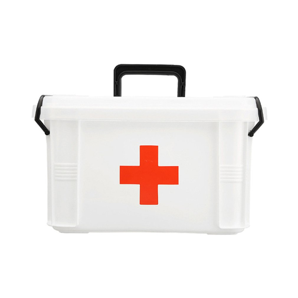 Multi-Layer Medical Emergency Storage Health Box Household Medicine Box Rotary Handle Double Side Sealing Buckle Design 1 Pcs