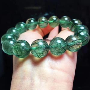 Image 4 - Hakiki doğal yeşil Rutilated kuvars taş bilezik brezilya kadınlar erkekler kristal yuvarlak boncuk bilezik 12mm 13mm 14mm AAAAA