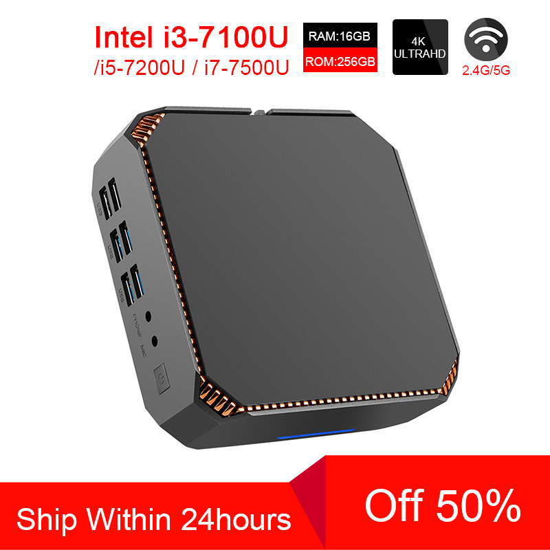 ACEPC CK2 Intel Core Mini PC i7 7500U i5 7200U i3 7100U Mini Pc Windows10 Linux Gigabit WiFi HDMI VGA 6 * USB 4K игровой Мини ПК
