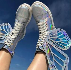 Image 1 - Лазерные серебристые, черные, розовые женские высокие кроссовки с украшением в виде крыльев бабочки, с круглым носком, на молнии, на шнуровке, женские короткие ботинки на плоской подошве