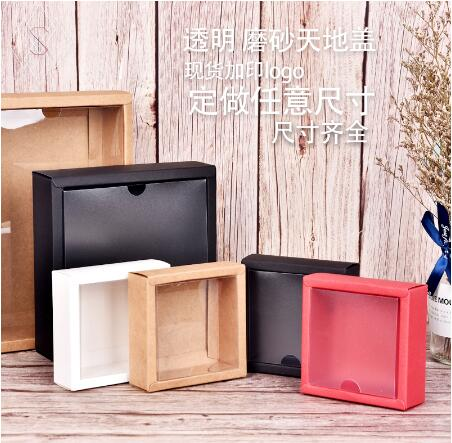 20pcs Kraft Paper Box Transparent PVC Cover Gift Packaging Box Cartons Boxes Toddler Shoes Packaging Box