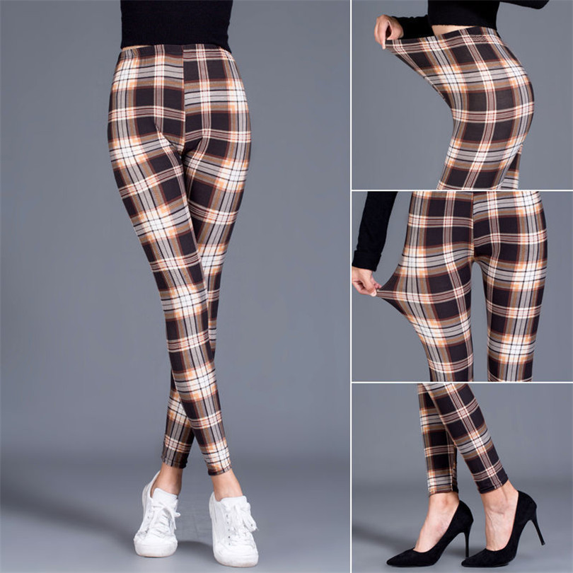 VISNXGI Push Up Leggings Women Leggings Fashion Plaid Printing Legging Sexy Leggings Fitness Leggins Trouser High Waist Pants