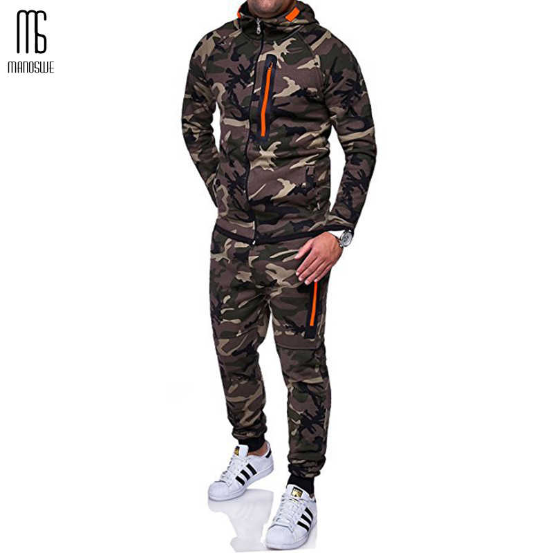 Manoswe Männer Camouflage Mit Kapuze Zipper Sport Running Set 2019 Neue Outdoor Fitness Top + Casual Lace-up Hosen Anzug oversize 3XL