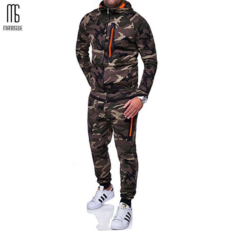 Manoswe Men Camouflage Hooded Zipper Sports Running Set 2019 New Outdoor Fitness Top + Casual Lace-up Trousers Suit Oversize 3XL