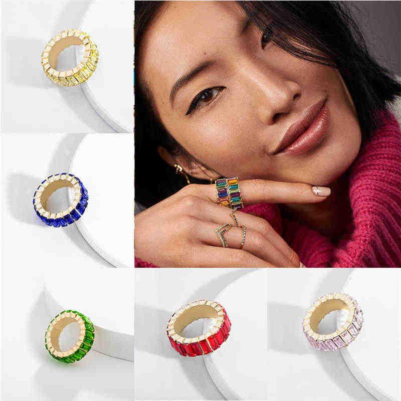 Модное женское кольцо кубические Рогалики Штабелируемый вечный Цирконий Радужная лента Кристалл