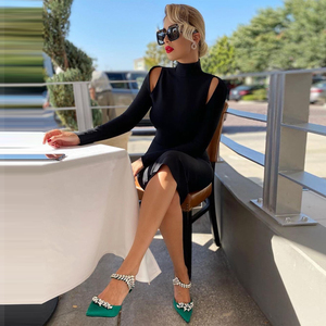 Image 2 - Ocstrade שחור תחבושת שמלה סקסית ארוך שרוול Bodycon שמלת 2020 סתיו בגדים חדש הגעה נשים ללא משענת לילה מועדון מסיבת שמלה