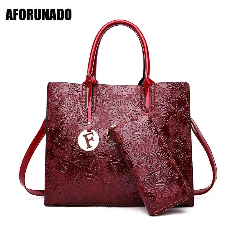 New Style Luxury Handbags Women Bags Designer Rose Flower Shoulder Crossbody Bags For Women 2019 2set Tote Handbag Clutch Wallet