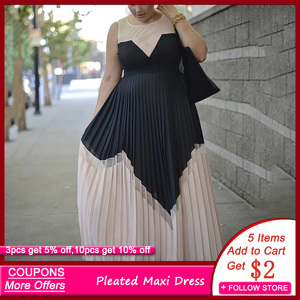 Summer Vintage Sexy Office Ladies Plus Size Women Long Dresses High Waist Pleated Retro Elegant Dinner Party Female Maxi Dress