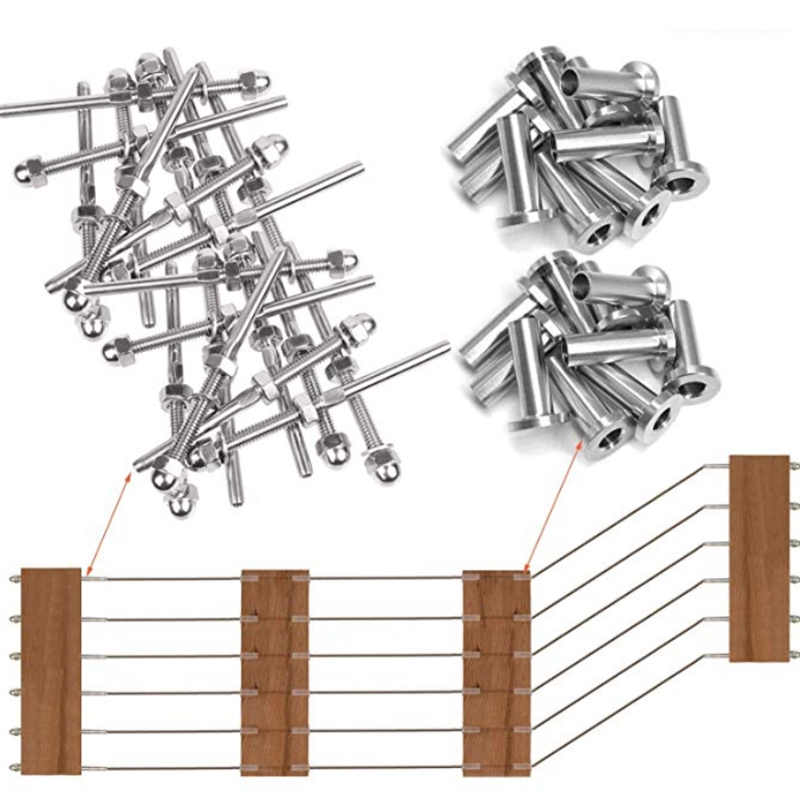 Cable Railing Swage Threaded Stud Tension End Fitting Terminal And Cable Railing Stainless Steel Protector Sleeves For 1/8 Inch