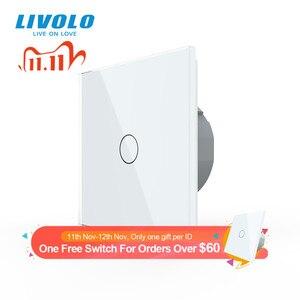 Image 1 - Livolo luxury Wall Touch Sensor Switch,EU Standard Light Switch,Crystal Glass switch power,1Gang 1Way Switch,220 250,C701 1/2/5