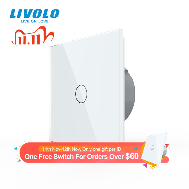 Livolo luxury Wall Touch Sensor Switch,EU Standard Light Switch,Crystal Glass switch power,1Gang 1Way Switch,220 250,C701 1/2/5