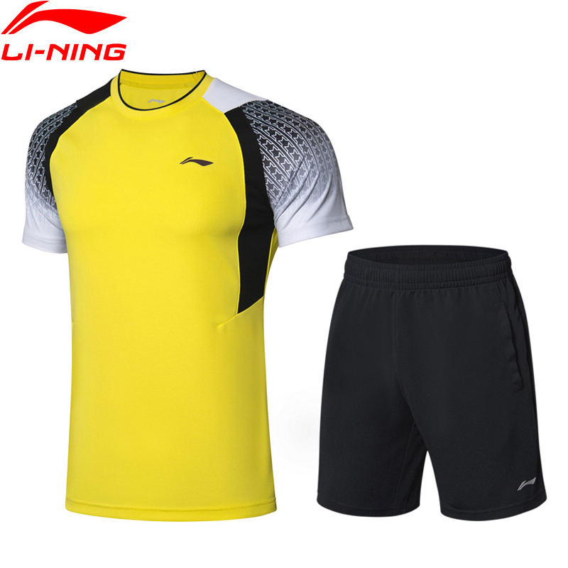 (Clearance)Li-Ning Men Competition Badminton Suits T-shirt+Shorts Set AT DRY Comfort LiNing Sports Suit Sets AATP019 MSY185