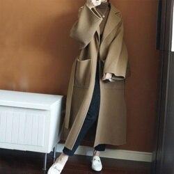 2020 100% casaco de lã feminino senhora do escritório desigual corte lateral turn-down colarinho outwear longo preto camelo casacos femininos com cinto