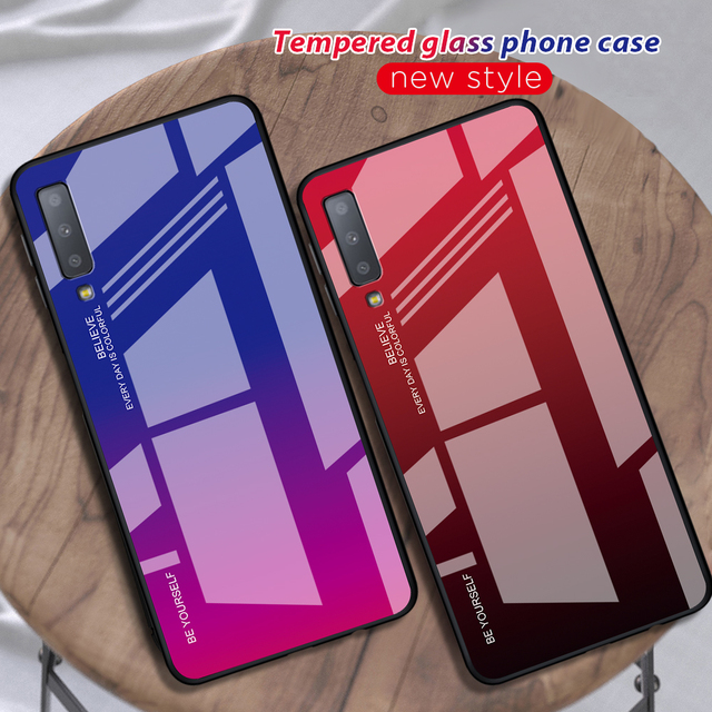 Gradient Tempered Glass Case For Samsung Galaxy A50 A70 Note 10 9 8 S8 S9 S10 Plus S10e A 80 30S 40 20e A7 2018 Phone Case Cover