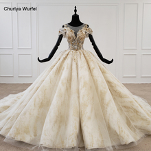 HTL1236 2020 woman wedding dress o neck short sleeve applique sequin crystal pattern ball gown lace wedding dress vestido noiva