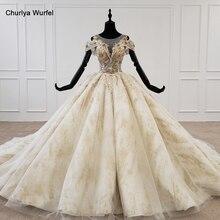 Htl1236 2020 mulher vestido de casamento o pescoço manga curta applique lantejoulas cristal padrão bola vestido de casamento renda vestido noiva