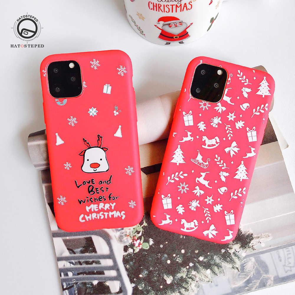 Kerstman Elanden Sneeuwpop telefoon case Voor iphone 11 Pro Max 7 8 Zachte siliconen Cover Case Voor iphone 11 Pro Max X XS 6 6s 7 8 Plus