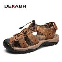 DEKABR nouveau mâle chaussures en cuir véritable hommes sandales été hommes chaussures plage sandales homme mode en plein air espadrilles décontractées taille 48