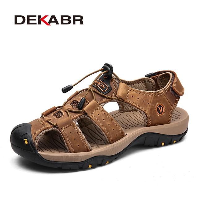 DEKABR חדש זכר נעלי עור אמיתי גברים סנדלי קיץ גברים נעלי חוף סנדלי איש אופנה חיצוני מקרית סניקרס גודל 48