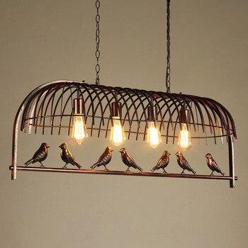 Ретро Креативный светодиодный подвесной светильник с птичьей клеткой, простой глянец, E27, освещение для помещений, гостиной, кухни, столовой...