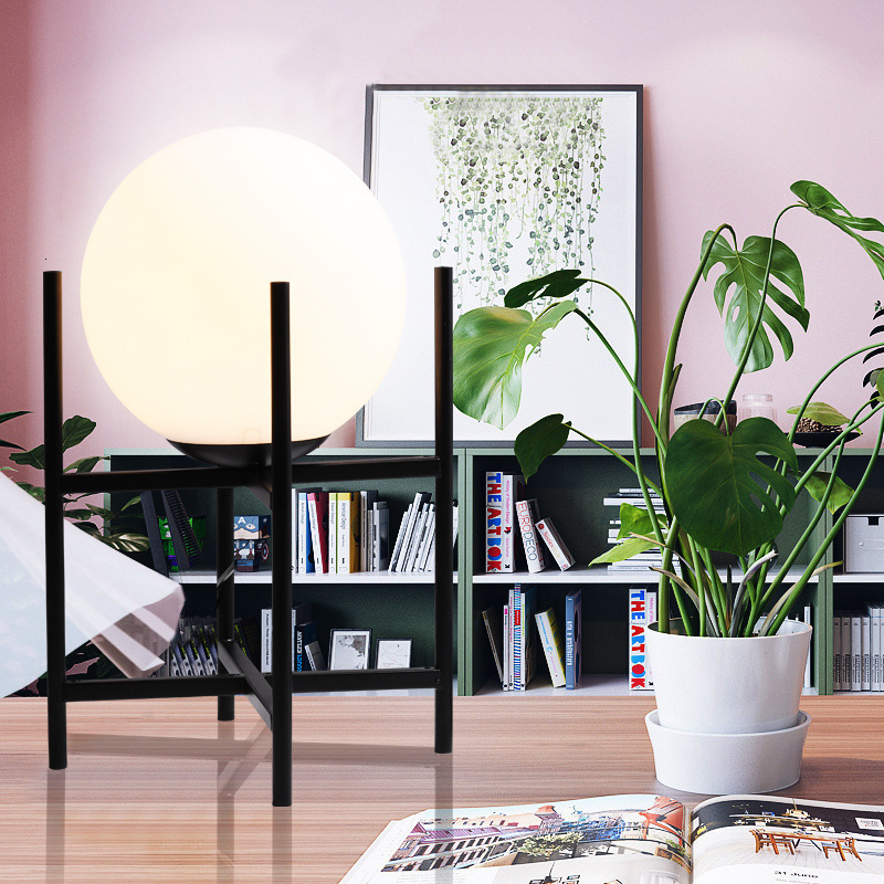 Настольная лампа в скандинавском стеклянном шарике для гостиной, чайный столик, прикроватная декоративная настольная лампа - 3